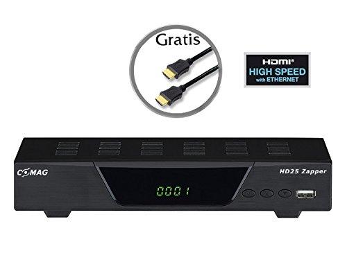 Comag 11106 25 Zapper Satelliten-Receiver (Full HD, HDTV USB 2.0, HDMI, SCART, optischer digitaler Tonausgang) inkl. High Speed HDMI Kabel schwarz