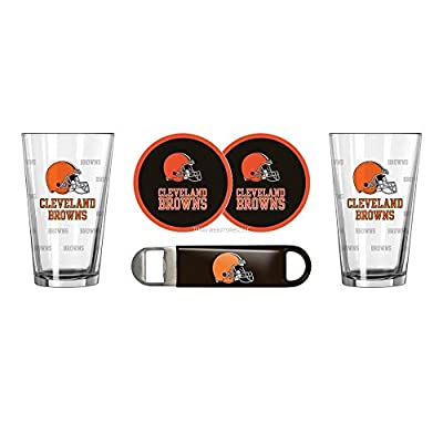 NFL Browns - Satin Etched Pint Glasses, Coasters & Bottle Opener Set | Cleveland Browns Beverage Gift Set