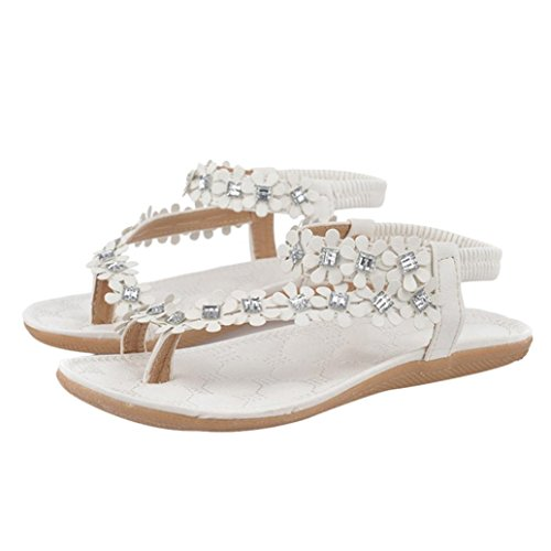 AutumnFall® Women's Summer Bohemia Flower Beads Flip-flop Shoes Flat Sandals (6.5, White)