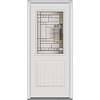 entry door kensington decorative glass 1 2 lite 1 panel fiberglass