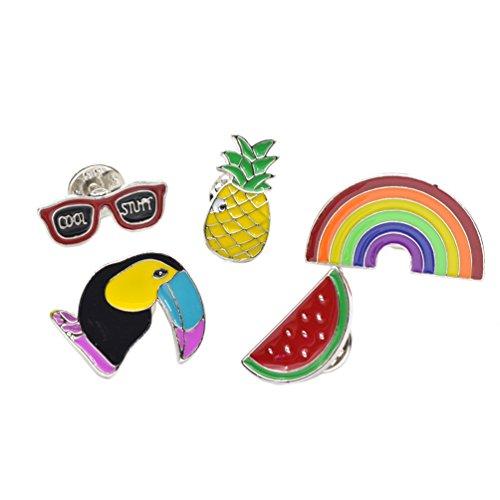 Lychee 1 Set Spilla Pin Colletto della Camicia Bavero Fibbia Consigli Forma di Arcobaleno Corvo Occhiali Frutto 5 Pezzi