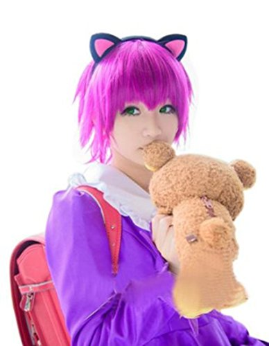 L-email Wig Annie Short Wig Straight Fuchsia Cosplay Party Hair Wig Zy59