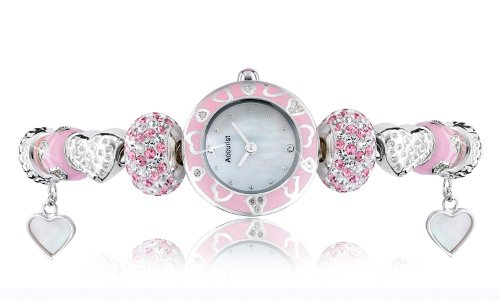Charmed by Accurist Pink Azalea Women's Quartz Watch with Mother of Pearl Dial Analogue Display and Silver Bracelet LB1465P