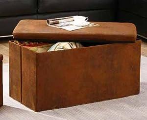 Kings Brand Large Rustic Brown Micro Fiber Folding Storage Bench Ottoman