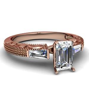 0.85 Ct Emerald Cut Diamond Bar Set Past Present Future Engagement Ring VS1 GIA 14K
