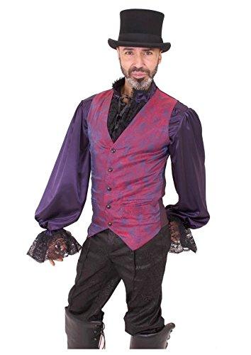 Mens-Iridescent-Red-Purple-Paisley-Steampunk-Wedding-Vest-Sizes-S-2XL