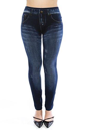 VIRGIN ONLY Women's Denim Jeans Printed Elastic Waist Band Seamless Leggings (Plus Size, 63 Navy) (Plus Size Online)