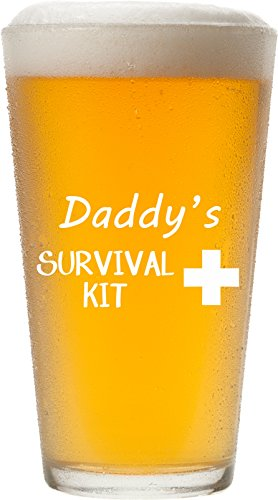 Daddy's Survival Kit - Funny 16 oz Pint Glass, Permanently Etched, Gift for Dad, Co-Worker, Friend, Boss, Christmas, New Dad Gift, First Father's Day - PG14