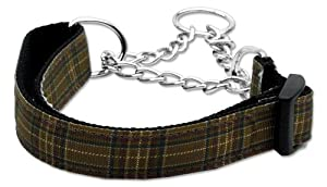 Mirage Pet Products Martingale Plaid Nylon Collar, Large, Brown