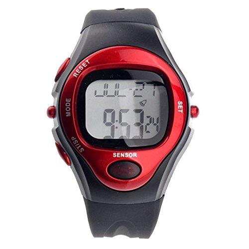 Kalevel Sports Pulse Rate Monitor Watch Calorie Counter Digital Wrist Watch Waterproof with Alarm Calendar Stopwatch (Red)