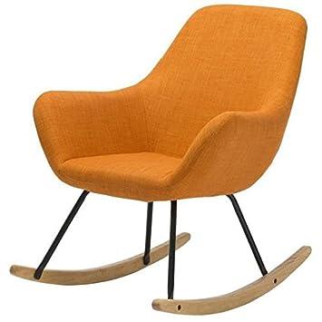 NORTON Fauteuil Rocking chair - Tissu orange - Pieds métal et bois hévéa massif - Classique - L 41 x P 76 cm