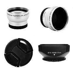 0.45x Wide + 2x Tele lens + Cap + Hood 37mm for Sony Handycam HDR & DCR