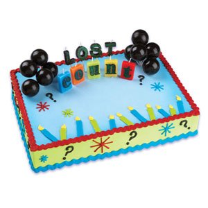 Oasis Supply Cupcake/Cake Lost Count Birthday Cake with 2 Black Balloons and Candles Spelling Out Lost Count, 2-Inch - 1