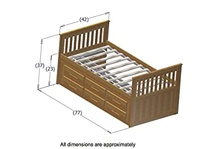 Discovery World Furniture Rake Bed with 12 Drawers, Twin, Espresso