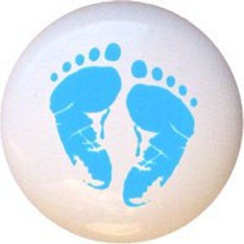 Blue Baby Footprints in Pastels Decorative Glossy Ceramic Drawer Knob (Pastel Drawer Knobs compare prices)