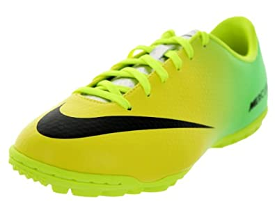 Nike Kids Jr Mercurial Victory IV TF Vibrant Yellow/Black/Neo Lime Turf Soccer Shoe 6 Kids US