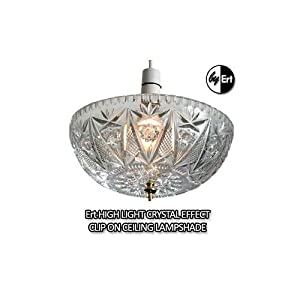 Ert HIGH LIGHT CRYSTAL CLEAR CLIP ON CEILING LAMPSHADE. Makes rooms look bigger lighter and brighter from Oxyvita Ltd