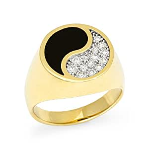 black coral yin yang ring with diamonds in 14k