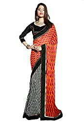 Monash Creations Black & Red Georgette Printed Saree With Lace Border Work