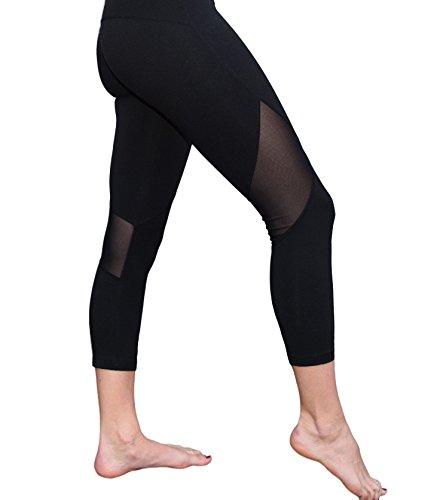 Mesh Capri Yoga Pants Womenu0026#39;s Workout Leggings by Yoggir (Medium Black) Sporting Goods Dancing ...