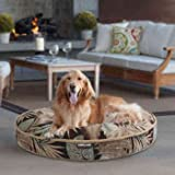 """42"""" Round Pet Bed , Cozy & Soft , High Quality Fabric & Construction, Black/Tan Multi Tropical Color"""