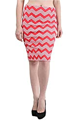 Mayra Women's Cotton Stretch Pencil Skirt (1512B11004_S, Red )