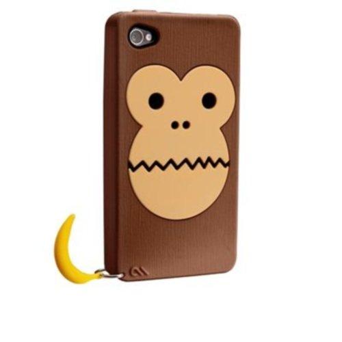 Case-Mate iPhone 4S / 4 CREATURES: Bubbles Monkey Case, Brown クリーチャーズ バブルス モンキー&バナナ シリコン ケース, ブラウン CM016353