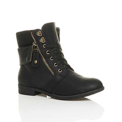 womens-ladies-low-heel-lace-up-knitted-cuff-zip-combat-ankle-boots-size-7-40