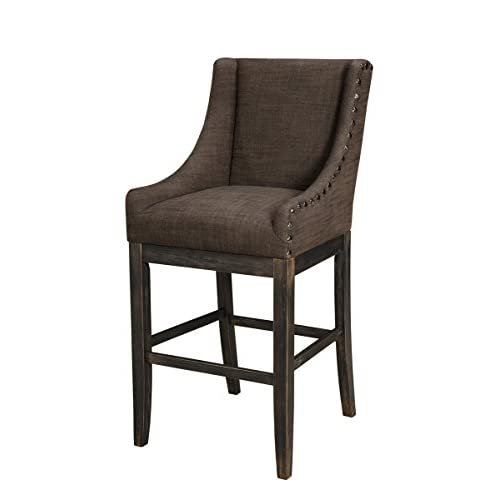 Tall Upholstered Barstool in Dark Brown Finish - Set of 2