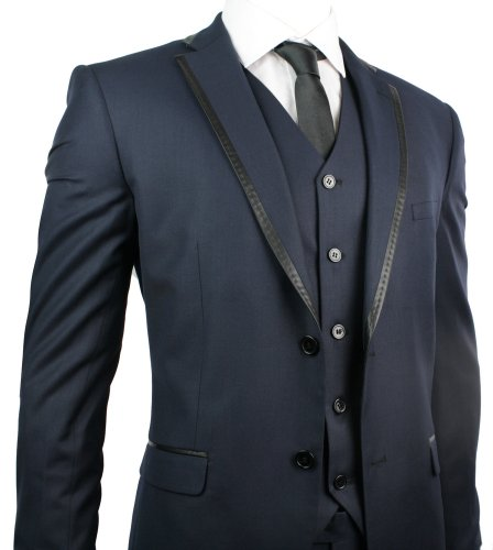 Mens Slim Fit Suit Navy Blue Black Trim 3 Piece Work Office or Wedding Party Suit UK