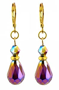 Faceted Fire Polished Glass Teardrop Earrings - Multi Iridescent (E421)