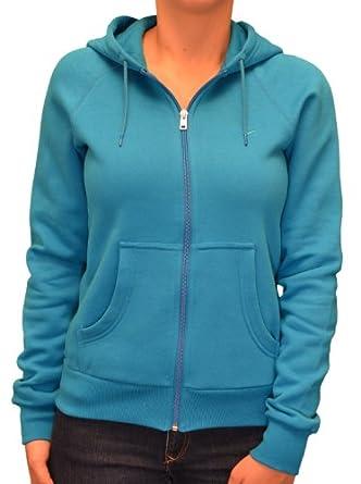 Nike Women's Classic Fleece Hoodie Sweatshirt-Teal-Small