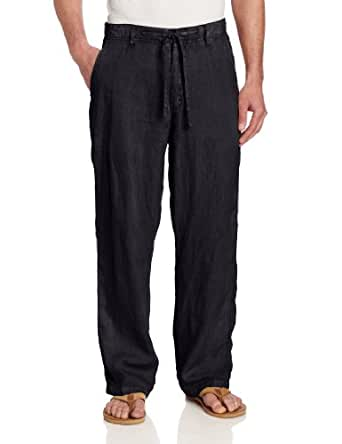 Margaritaville Men's Cabana 100% Linen Pant, Black, Medium