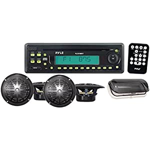 PYLE Waterproof Marine AM/FM/CD Player Receiver with 4 x 5.25-Inch Speakers and Splash-Proof Radio Cover by Pyle