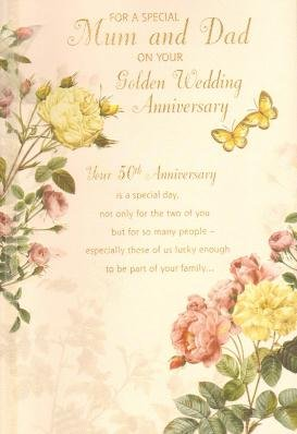 Mum and Dad Golden (50th) Anniversary, Birthday Greetings Card