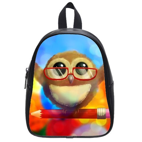Generic Custom Cute Wearing Red Glasses Stand On The Pencil Printed Black School Bag Backpack Fit Short Trip Pu Leather Large front-231981