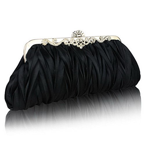 Fashion-Road-Womens-Satin-Pleated-Evening-Clutch-Bags-Purse-Wedding-Cocktail-Party-Handbags