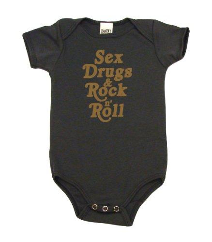 Sex Drugs & Rock N' Roll On Infant Onesie, 3-6 Mo, Asphalt front-612228