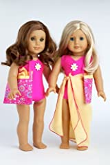 Beach Party - 3 piece outfit includes pink swimsuit, yellow wrap and beach bag - 18 Inch American Girl Doll Clothes