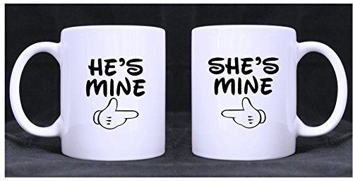 Romantic Design He'S Mine/She'S Mine (Twin Side) Custom White Ceramic Mug Coffee Cup (11 Ounce)A Couple Of Mugs For Couples(Wedding Anniversary,Valentine'S Day,Engagement)