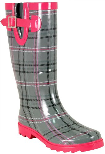Rain Boots for Women:Western Chief Women's Chevy Plaid Rain Boot,Gray,8 M US