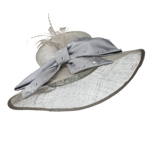 Large Bow Sequin Accent Sinamay Hat - Grey W27S37E