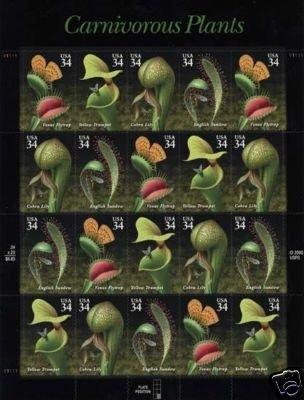 Carnivorous Plants pane 20 x 34 cent U.S. Postage Stamp