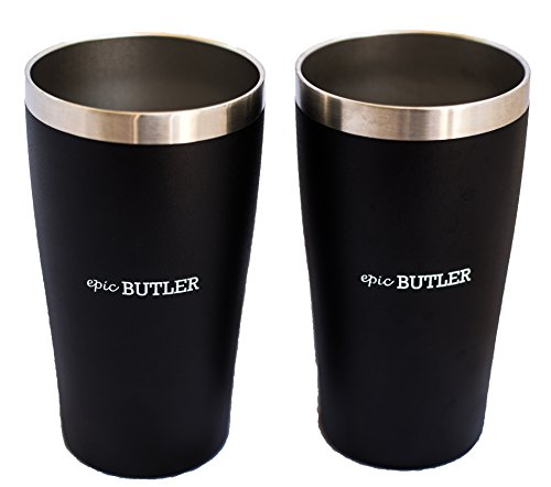 Vacuum Insulated Stainless Steel Pint by Epic Butler, 16 oz, Pack of 2 (Black) (True Flavor Ware compare prices)