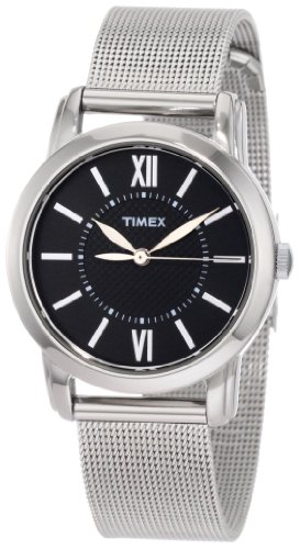Timex Women's T2N680 Elevated Classics Dress Uptown Chic Black Dial Mesh Bracelet Watch