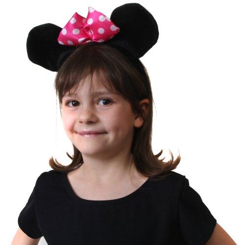 Black Mouse Ears Plush Headband w/Bow - 1