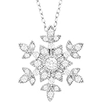 Finecraft 1 ct White Sapphire Snowflake Pendant (Sterling Silver)