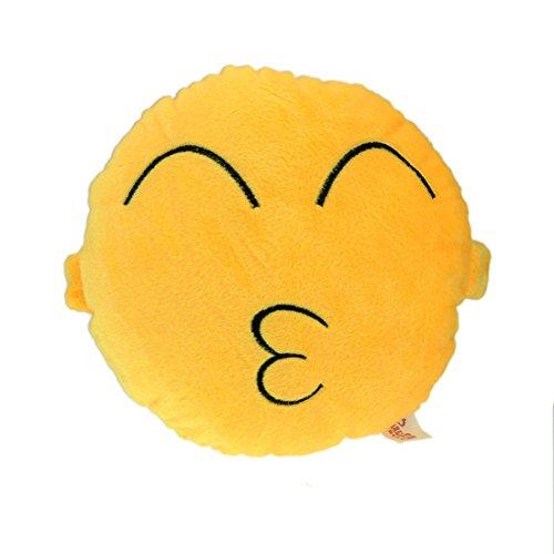 Amonfineshop niedlich Emoji Smiley-Kissen-Kissen-Spielzeug-Geschenk Autotechnik Sitz Kopf-Hals- (Kiss)