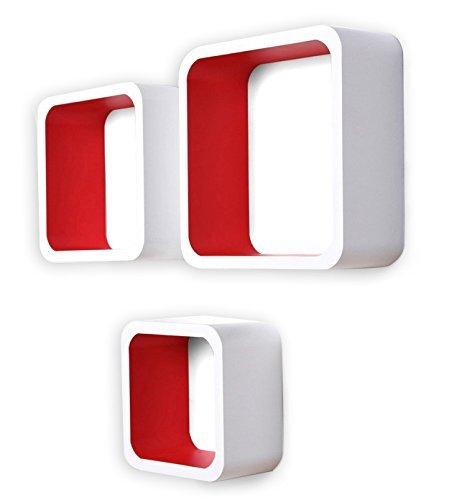 Rebecca Srl Set 3 Pezzi Mensole da Parete Cubo 3D Legno Bianco Rosso Complementi d'Arredo Design Moderno (Cod. 0-3721)
