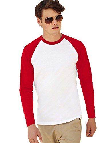 Pacco 5 Maglie Maniche Lunghe Bicolore Cotone Uomo Fruit Of The Loom Baseball , Colore: Bianco/Rosso, Taglia: L